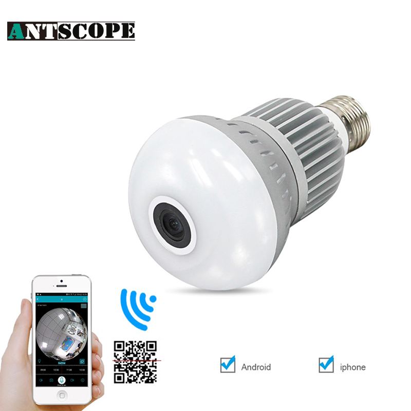 1080P 360 Degree Wireless Bulb Light IP Camera Wifi FishEye VR Mini CCTV Cam 2MP Home Security Surveillance Cameras Panoramic