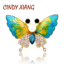CINDY XIANG Gradient Enamel Butterfly Brooches for Women Rhinestone Insect Beautiful Fashion Brooch Pin Handbag Jewelry Gift
