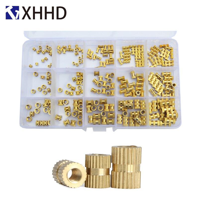 Brass Injection Molding Insert Thread Nutsert Double Pass Copper Knurl Nut Embedded Fastener Assortment Kit Set Box M2 M3 M4