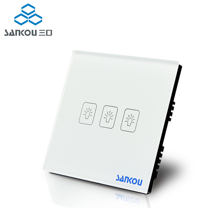 UK Standard 3Gang1Way SANKOU LED Touch Switches White Crystal Glass Panel Light Wall Switch Smart Home AC220V/110V makegood uk standard 2 gang 1 way smart touch switch crystal glass panel wall switch ac 110 250v 1000w for light led indicator