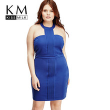 Kissmilk Fashion 2017 Plus Size Summer Women Sexy Dress Solid Blue Sleeveless Halter New Design 3XL 4XL 5XL 6XL