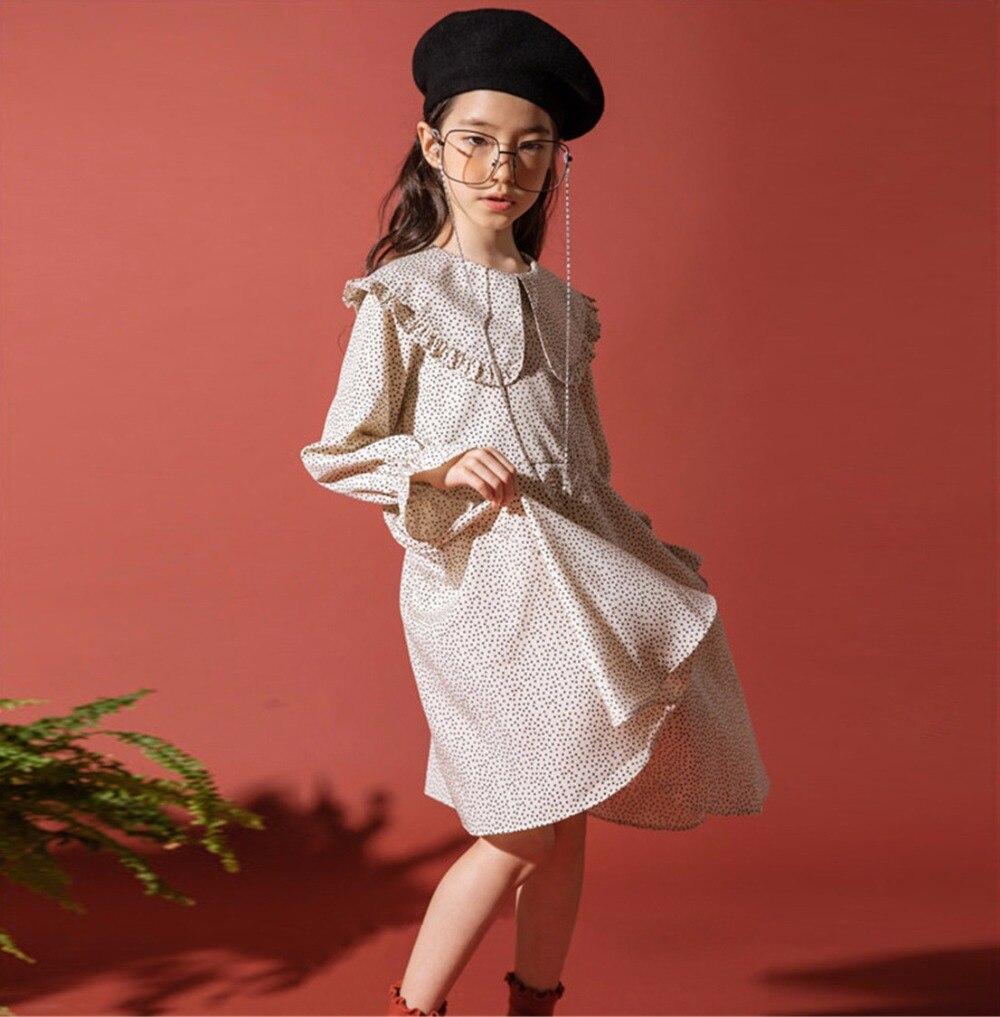 2018 automne marque Designs à pois robe de princesse à manches longues à la mode adolescents fille enfants noir Beige robe 12 13 14 Yeard vieux