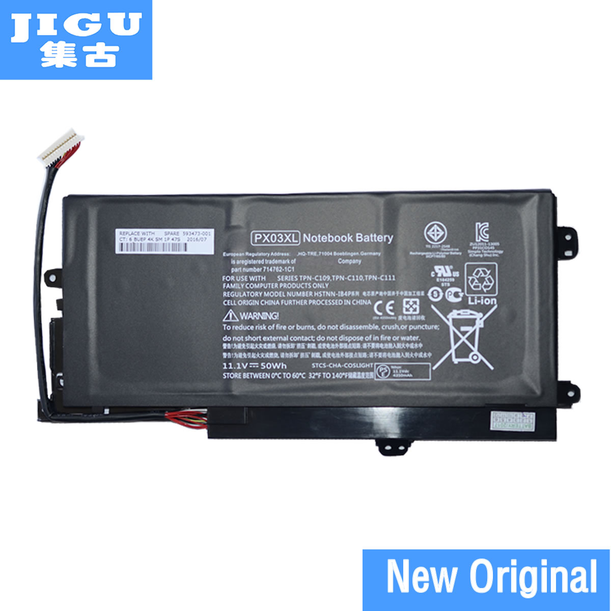 JIGU 11.1 v 50WH Nouvelle Batterie D'ordinateur Portable D'origine Pour HP TPN C109/C110/C111 PX03XL HSTNN-LB4P