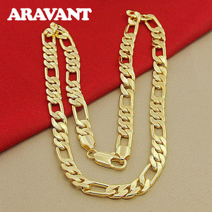 Silver 925 Gold Necklace Link Chains Men Fashion Jewelry Accessories