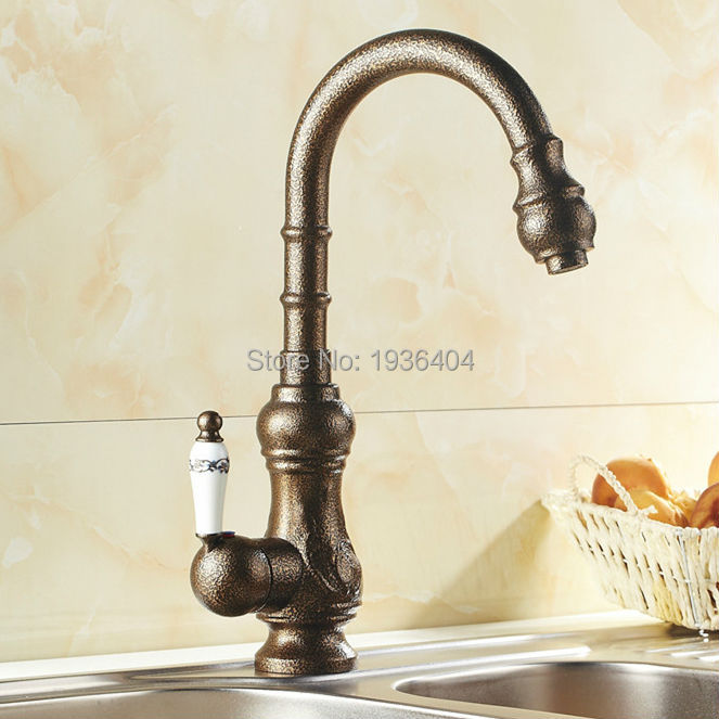 Kitchen Swivel Faucets Single Handle Taps Antique Roman Brass Finished Deck Mounted torneiras para banheiro crane