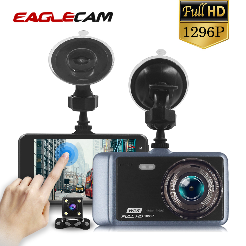 Dual Dash Camera HD 4 LCD IPS Touch Screen170 degree Wide Angle Lens Dashboard Camera with