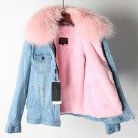 Новые джинсовые Меховая куртка Для женщин реального енота меховой воротник экологически чистые лайнер для зимнее пальто парки джинсы паль
