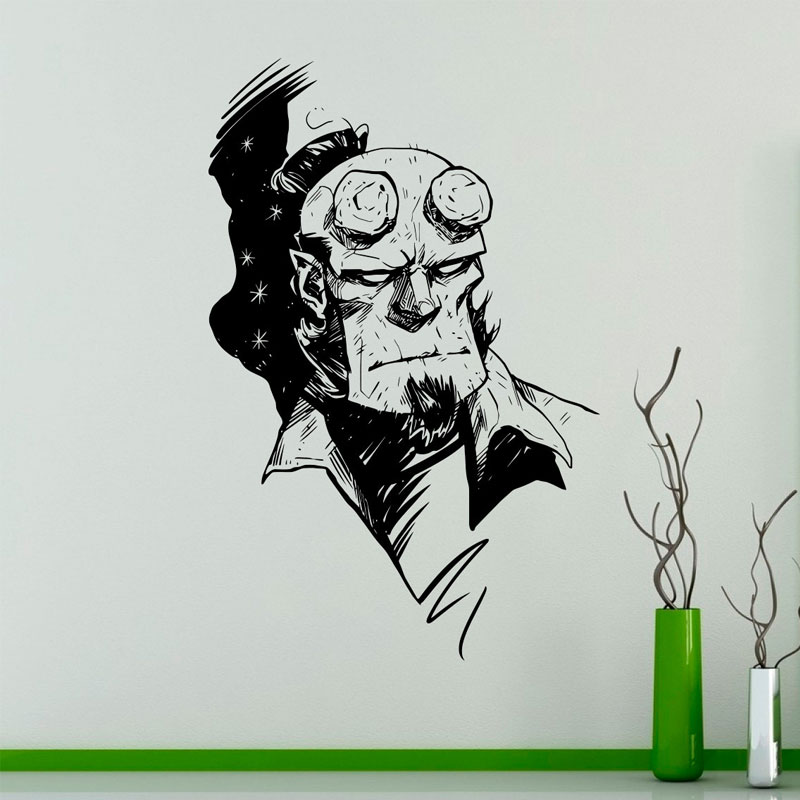 Hellboy Wall Sticker Vinyl Decal Comics Superhero Art Decorations for Home Housewares Bedroom Playroom Kids Boys Room Decor SP48 in Wall Stickers from Home Garden