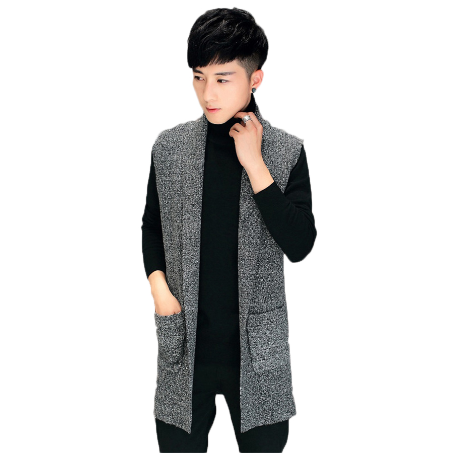 Autumn Winter Slim Long Mens Cardigans Sweaters New Fashion Big Size Jumpers Mens Sleeveless Sueter Knit