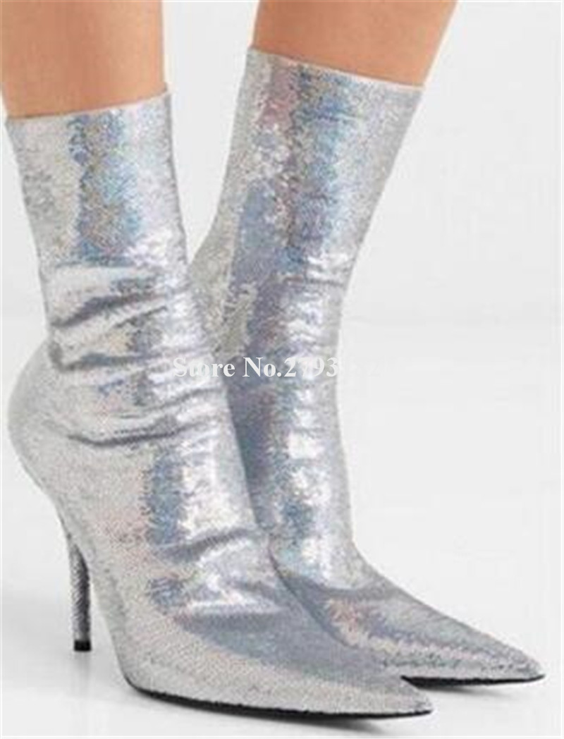 Ladies Bling Bling Pointed Toe Silver Gold Sequined Over Knee Bandage Thin Heel Boots Slim Style Over Knee High Heel Boots in Over the Knee Boots from Shoes