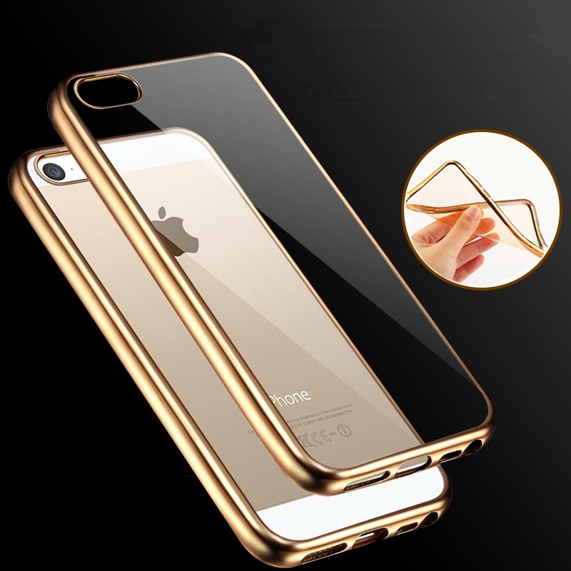 promo code ffede b9301 US $3.98 |Luxury Ultra Thin Rose Gold Plating Crystal Clear Case For Apple  iPhone 5 5S SE Transparent TPU Soft Silicone Phone Bag Covers-in Fitted ...