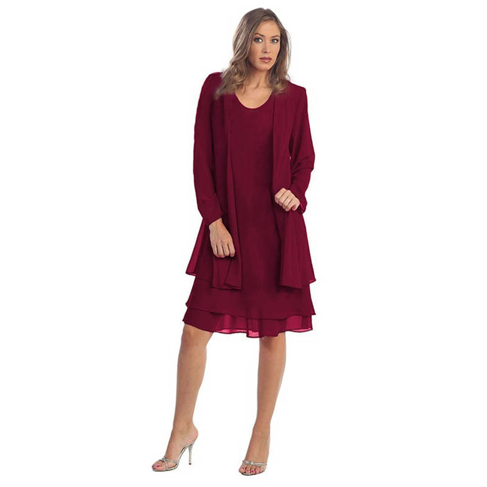 Kenancy Autumn Women 2 Pieces Sets Chiffon Jacket Dress Solid Red O-Neck Sleeveless Long Sleeves Women's Suit Dress Female Coat