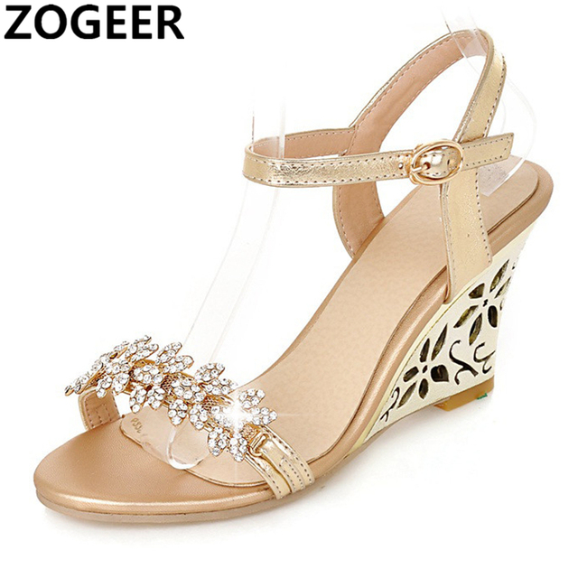 4dcf058749 US $23.87 49% OFF|Summer 2019 Women High Heels Sandals Open Toe Wedges  Heels Sandals Women Luxury Rhinestone Ankle Strap Party Shoes Gold  Silver-in ...