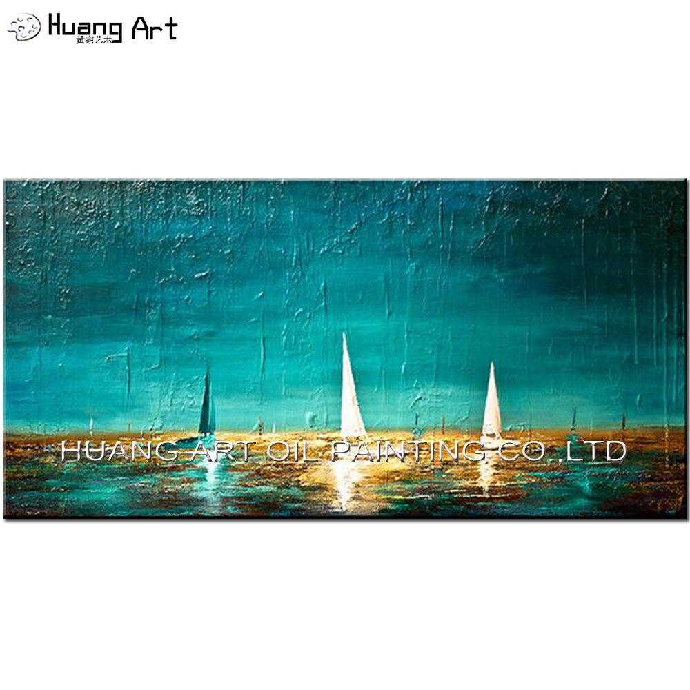 Pintado a mano blanco velero pintura del paisaje marino en lienzo - Decoración del hogar