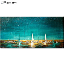 Hand Painted White Sailboat Seascape Painting on Canvas for Living Room Decor Modern Turquoise Landscape Acrylic Oil Picture Art