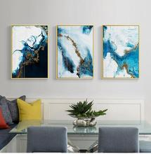 Abstract Painting Blue Gold Canvas Painting Poster