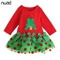 Árvore de natal do bebê da menina dress 2017 polka dot bonito mini vestidos para a festa de aniversário da criança crianças manga longa dress fa009