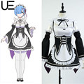 2017 Re:Zero kara Hajimeru Isekai Seikatsu Rem Ram Uniforme Cosplay Maid Costume Robe Anime cartoon With Headdress flower