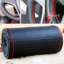 VOLTOP Manual Handmade Car Steering Wheel Cover Top Layer Leather Cowhide DIY Auto Interior Accessories 38cm
