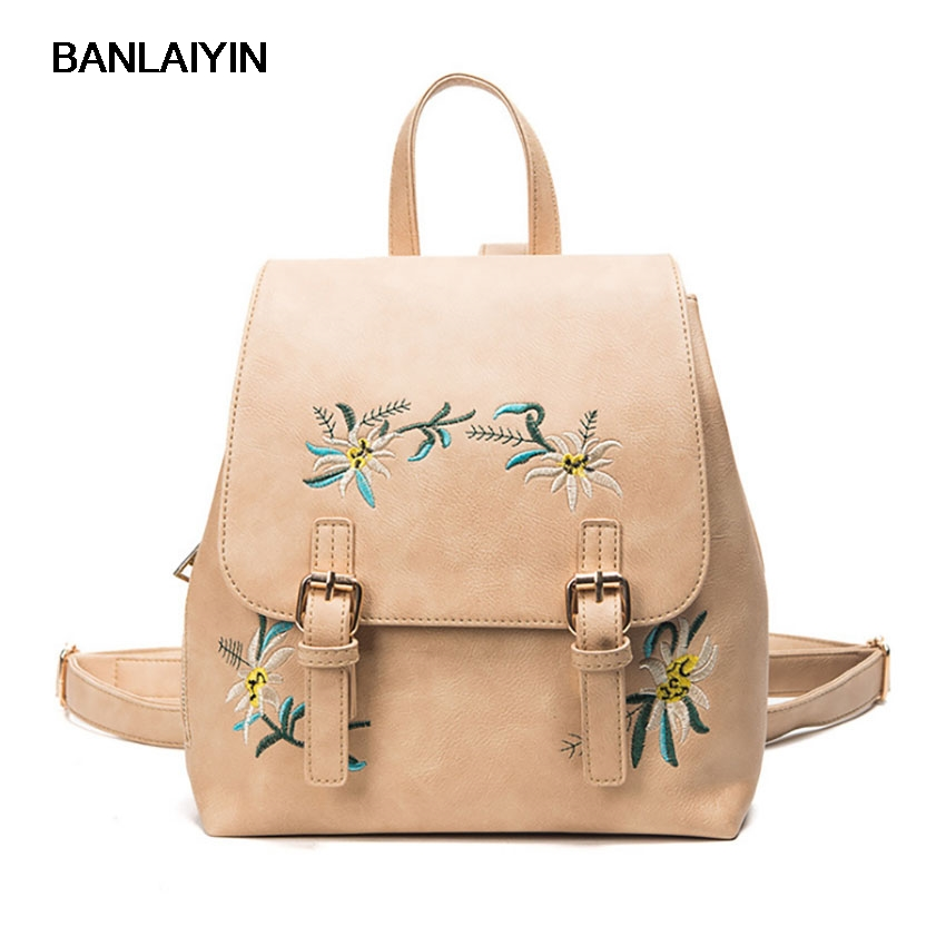 Pop Tide Embroidery Flower Women Causal Backpacks High Quality Female PU Leather Backpacks School Bag For