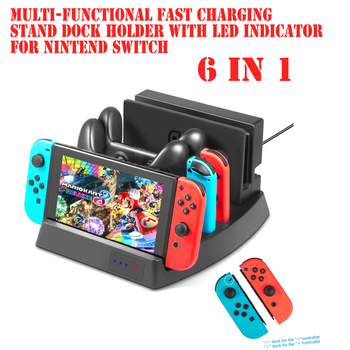 6 in 1 Nintend Stand Multi-functional Fast Charging Stand Dock Holder With LED Indicator for Nintend Switch Console Charger