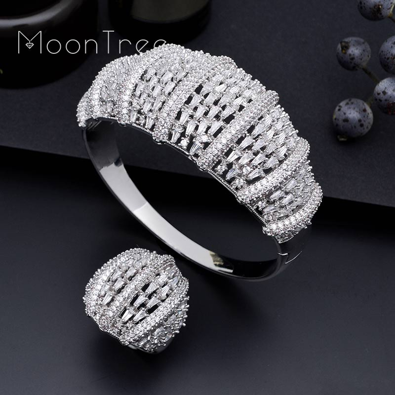 MoonTree Boom Flowers AAA Cubic Zirconia Fashion Luxury Super Copper Women Party Engagement Width Bracelet Bangle