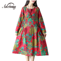 Cotton Linen Vintage Floral Print Autumn Dress Women Casual Elegant Maxi Long Dress Vestidos Mujer 2017 New Party Dresses Robe
