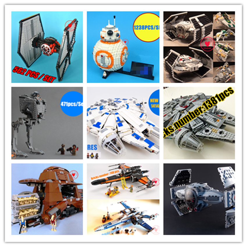 New Star Wars series Tie Starfighter droid Toy fit legoings star wars Millennium Falcon bb8 figures Building Blocks bricks gift ...