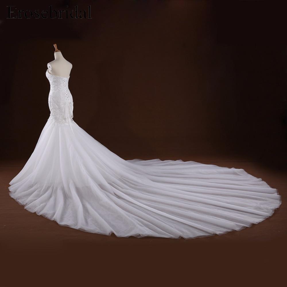 Sweetheart Appliques Beaded Long Train Mermaid Lace Up Back Wedding Dress