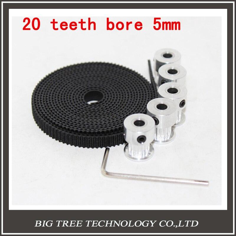 5 unids 20 dientes Gt2 Polea y 5 M GT2-6mm Gt2 correa para impresora 3D con 10 x