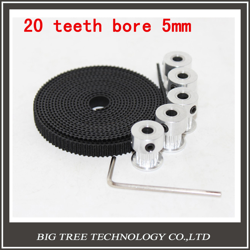 5pcs 20teeth GT2 Timing Pulley and 5M GT2 6mm GT2 Timing Belt for 3D printer with