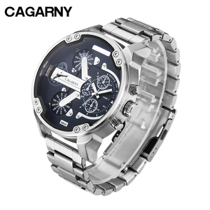 Image 1 - Big Dial Men Watches Man Top Luxury Brand Cagarny Mens Wrist Quartz Watch Stainless Steel Male Clock Miltiary relogio masculino