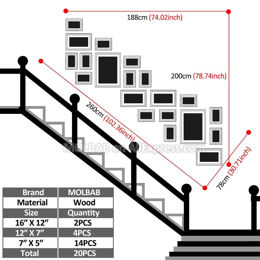 MOLBAB marco de fotos de madera escalera galería Wall 20 unids/set ...