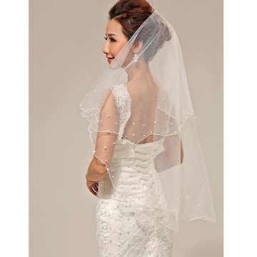Einfache und Elegent Hochzeit Braut Schleier Tüll Weiß Elfenbein Zwei Schichten Braut Zubehör Kurze Frauen Schleier mit Kamm