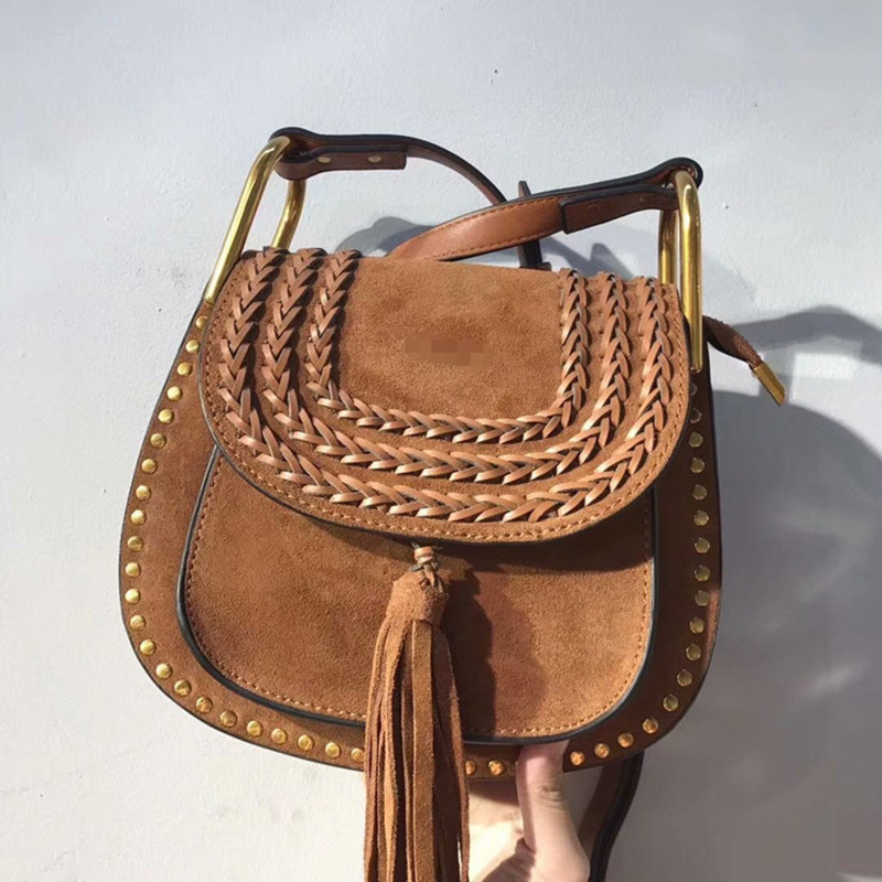 2018 Fashion New Women Lady Genuine Leather Rivet Tassel Knitting Saddle Handbags Shoulder Bag Messenger Bags
