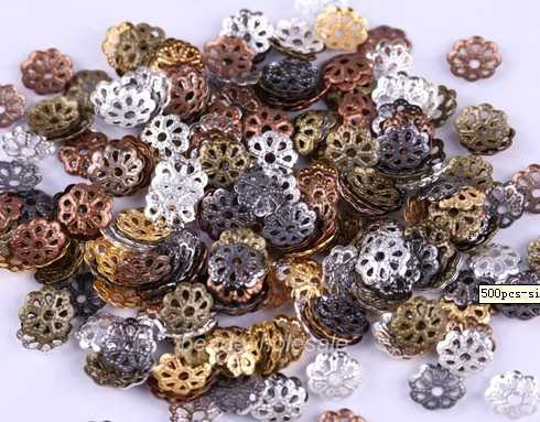 OMH free ship 506mm silver/golden/black/copper/bronze color metal flower bead caps U pick - Bead store