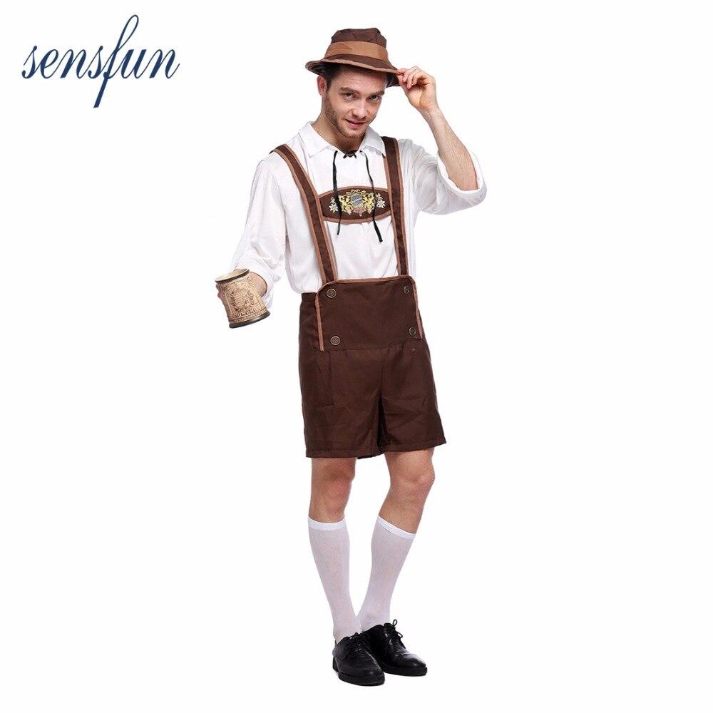 Sensfun German Festival Beer Mens Costume Bavarian Oktoberfest Costume Adult Party Carnival Halloween Costume Male Cosplay Party