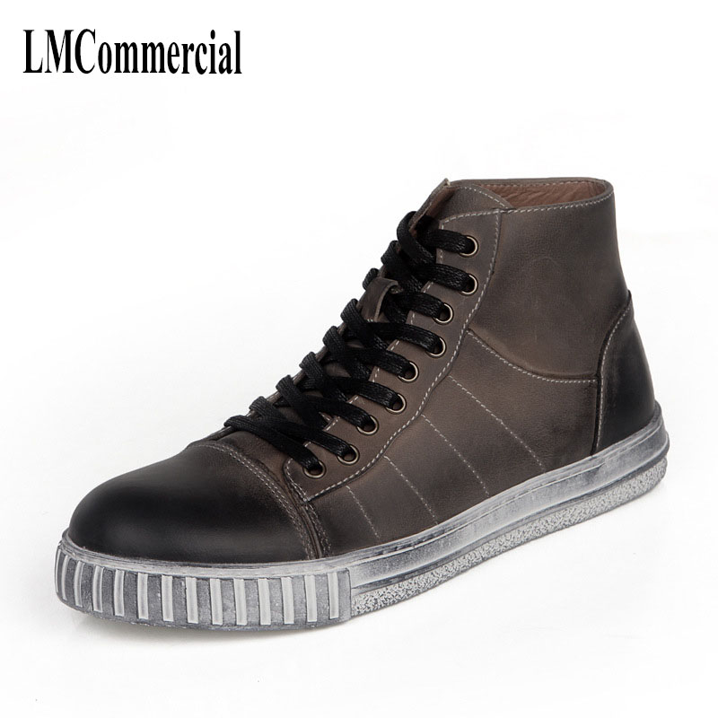 The new trend of men's shoes retro handmade Mens Casual shoes in leather boots cowhide breathable sneaker fashion boots men 2017 new autumn winter british retro zipper leather shoes breathable sneaker fashion boots men casual shoes handmade