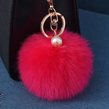 32 Colors Pom Pom Ball Keychain For Women Bag Purse Car Styling Key Ring Chains Fluffy Faux Rabbit Fur Keychain Pompon Keychain(China)
