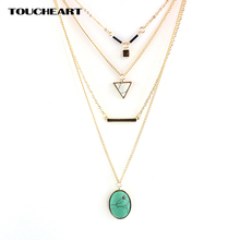 цена на TOUCHEART Chain Triangle Statement Necklace Multilayer Turquoise Gold Necklace for Women Jewelry Vintage Accessories SNE160055