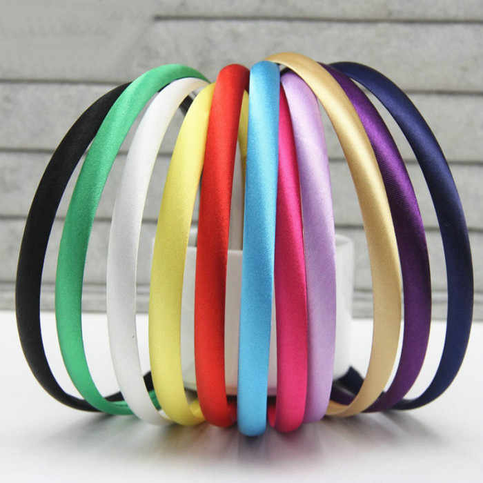 10pcs/lot 10mm Plain Solid Color Satin Covered Resin Hairbands Ribbon Covered Adult Kids Headbands