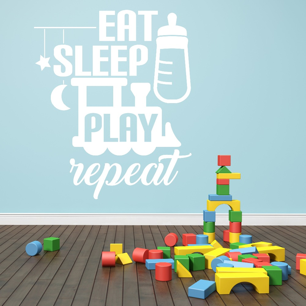 Kids Nursery Room Wall Decal Quotes Eat Sleep Play Repeat Vinyl Wall Stickers For Kids Room Playroom Baby Gift Art Mural