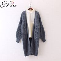 H SA Winter Autumn Long Female Cardigans Latern Sleeve Casual Knitted Poncho Sweaters Oversized Long Cardigans