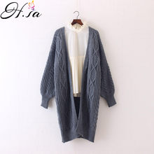 d85452d17ad5a7 H. SA zima jesień długo kobiet Cardigans Latern rękawem Casual dzianiny  Poncho swetry ponadgabarytowych długie kardigany koreańs.