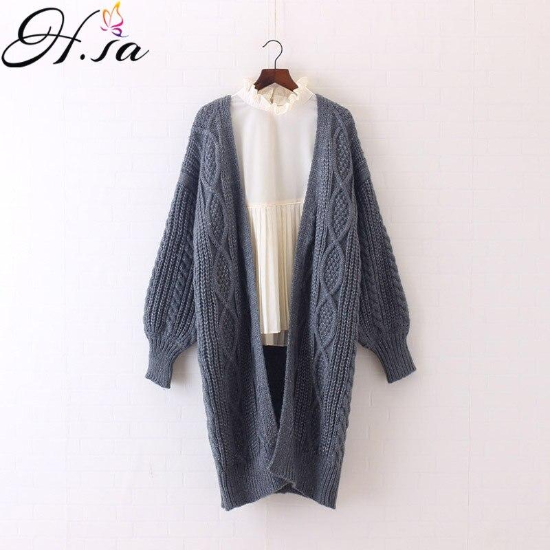 H. SA invierno otoño largo mujer Cardigans manga lateral Casual tejido Poncho suéteres de gran tamaño largo Cardigans coreano sueter
