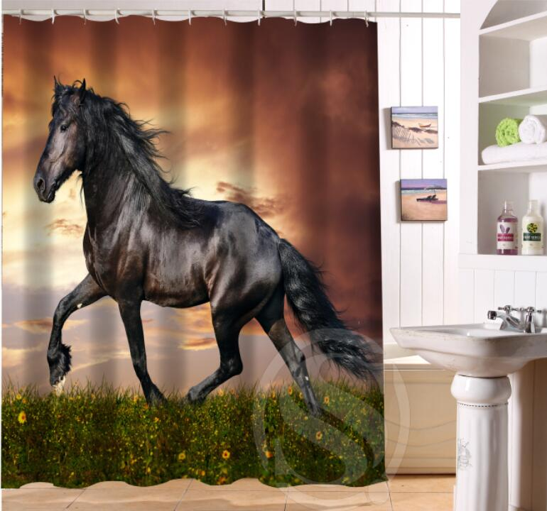 NEW Modern Design Bath Curtain Print Handsome Horses Shower Curtains Bathroom Waterproof Free Shipping SQ0623 In From Home Garden On