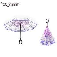 GQIYIBBEI Double Layer Transparent Reverse Umbrella C type Handle Sakura Man Inverted Umbrella Rain Women Raincoat For Car Use
