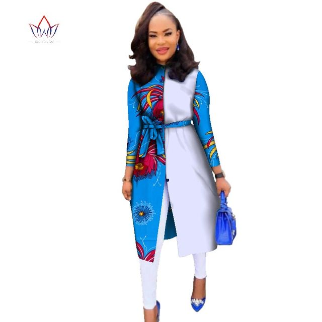 d870749d7ddc5 African Clothes for Women Long Sleeve Outwear with Sashes Coat Dashiki  African Print Oversize Women Trench Coat WY2115