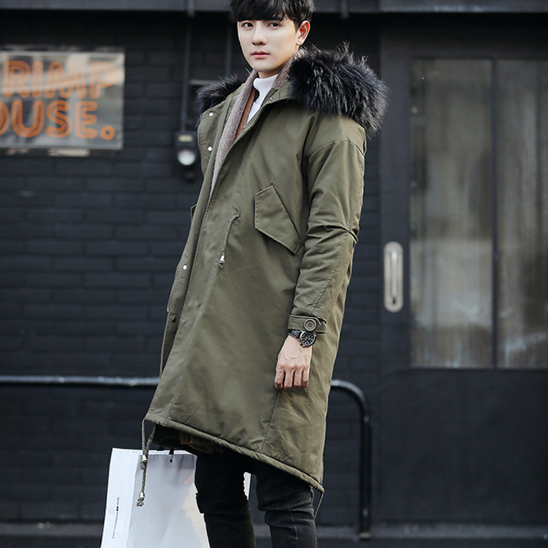 Winter Mens Overcoat Faux Fur Hooded Long Coat Thick Warm Male Parka Casual Outwear Trench Korean Loose Fit Casaco Masculino women lady thicken warm winter coat hood parka overcoat long outwear jacket