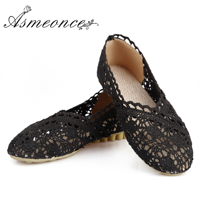 7a7828d8f Women Hollow Flowers Breathable Ballet Flats Ladies Sexy Elegant Female  Flat Shoes Girls Ballerina Vintage Lace Crochet